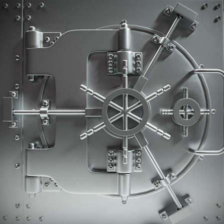 puertas abiertas: puerta de la bóveda bancaria masiva cerrada