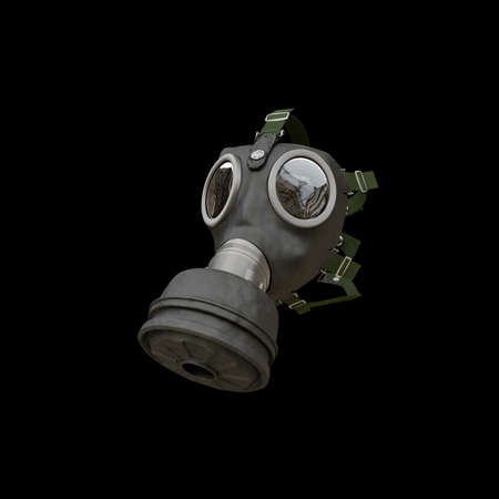 nuclear fear: gas mask isolated on black background