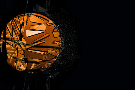 or shatter: basket ball breaking glass isolated on black background Stock Photo