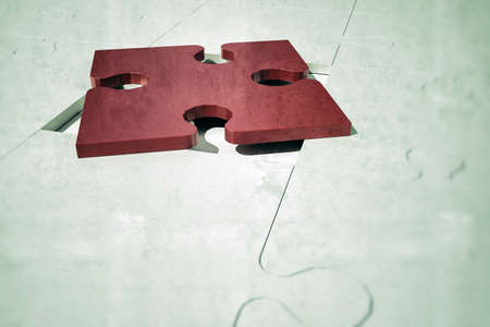 red puzzle piece: red puzzle piece on the right place