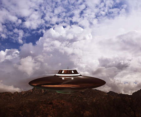 unidentified flying object: unidentified flying object flying in the sky Stock Photo