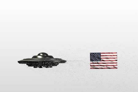 unidentified flying object: unidentified flying object with American flag on it Stock Photo