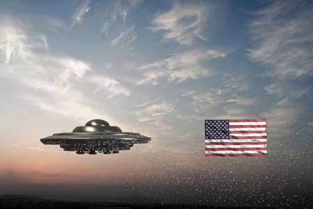 flying object: unidentified flying object with American flag on it Stock Photo