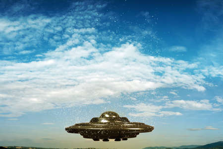 flying object: Illustration of an unidentified flying object Stock Photo