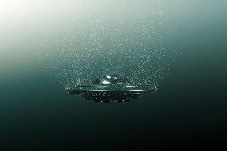 unidentified flying object: unidentified flying object moving under the sea Stock Photo