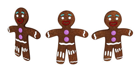 homemade bread: gingerbread man isolated on white background Stock Photo