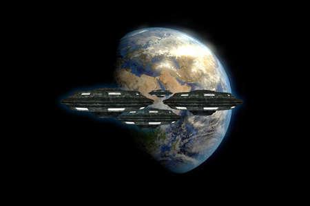 """raumschiff: fremde Raumschiffe den Planeten Erde """"Elemente dieses Bildes von der NASA eingerichtet"""" n�hern Lizenzfreie Bilder"""