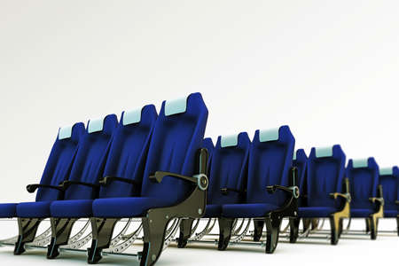 aisle: airplane seats isolated on white background Stock Photo