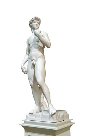 michelangelo: david statue isolated on white background Stock Photo