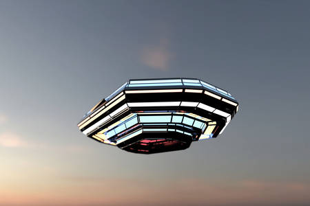 abducted: unidentified flying object caught in the sky Stock Photo