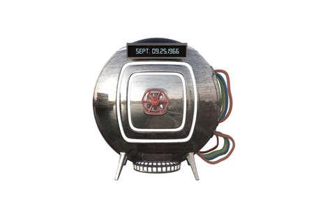 tijdmachine capsule op een witte achtergrond