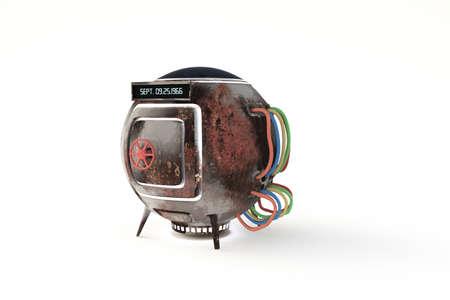 pilot cockpit: time machine capsule isolated on white background