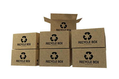 corrugated box: recycle boxes isolated on white background Stock Photo