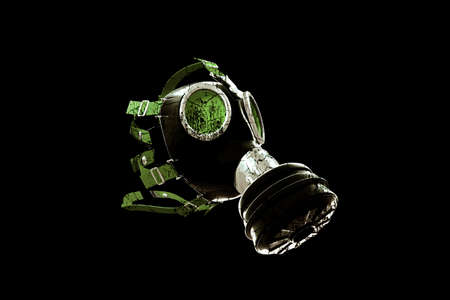 protective gas mask: gas mask isolated on black background