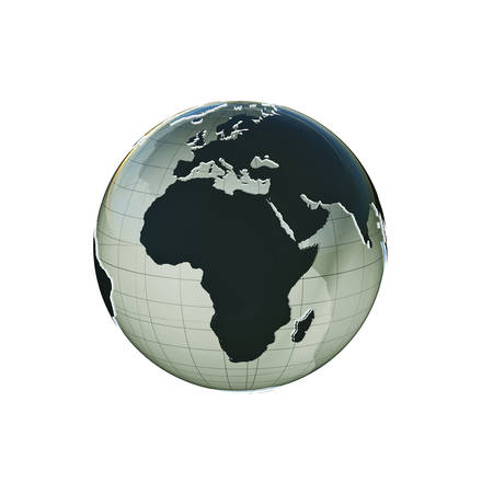 extruded: planet earth extruded isolated on white background Stock Photo