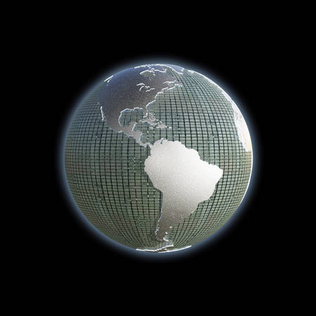 extruded: planet earth with extruded continents isolated on black background Stock Photo