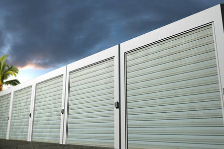 storage units dozen gefotografeerd bij zonsondergang Stockfoto