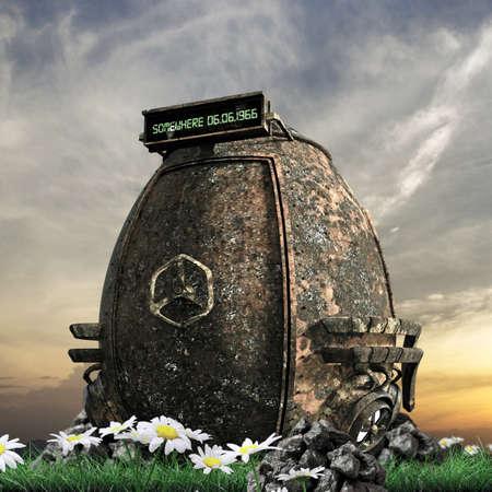 time machine: rusty time machine on green lawn Stock Photo