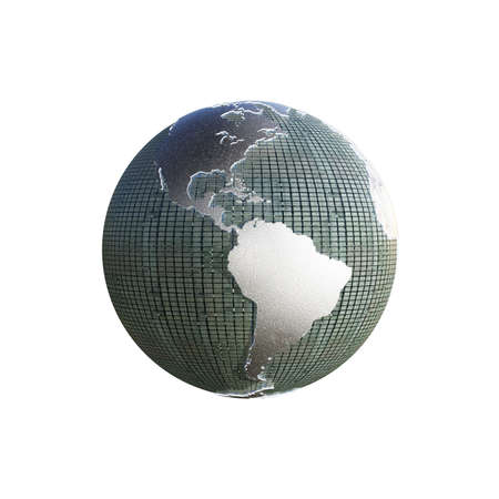 extruded: planet earth with extruded continents isolated on white background Stock Photo