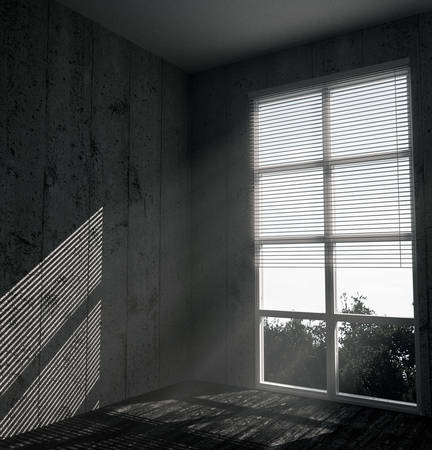 background house: white window in a concrete room