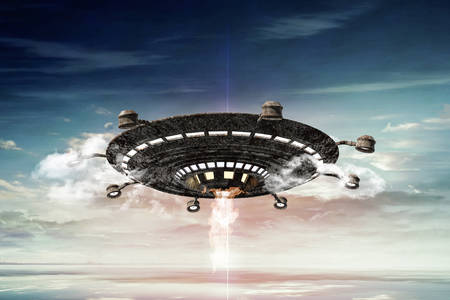 ufo: 3d illustration of a rusty ufo in the sky Stock Photo