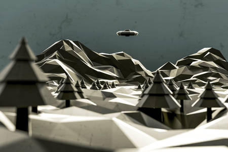 identified: 3d illustration of an identified flying object low poly over a desolate landscape