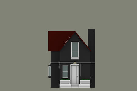 architectural styles: 3d illustration of a simple sketched house