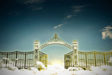 pearly gates: 3d illustration of the heaven gate