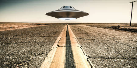 51: 3d illustration of a unidentified flying object on a empty desert road.