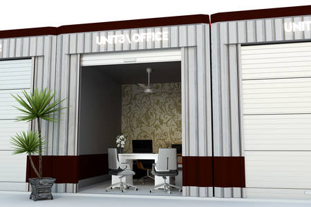 storage: 3d illustration of a self storage office isolated on white background Stock Photo