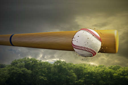 smashing: 3d illustration of a baseball bat smashing a baseball ball