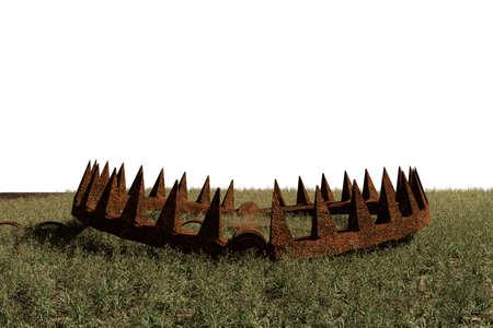 bear trap: 3d illustration of a bear trap