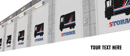 storage unit: 3d illustration of self storage units Stock Photo