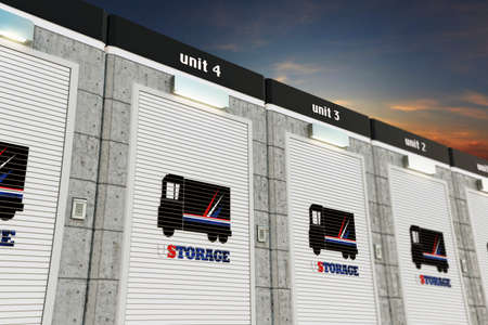 storage facility: 3d illustration of self storage units Stock Photo