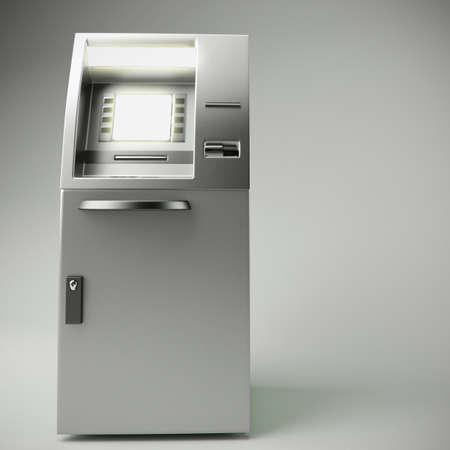 automatic transaction machine: 3d ilustraci�n de la ATM aislado en fondo gris