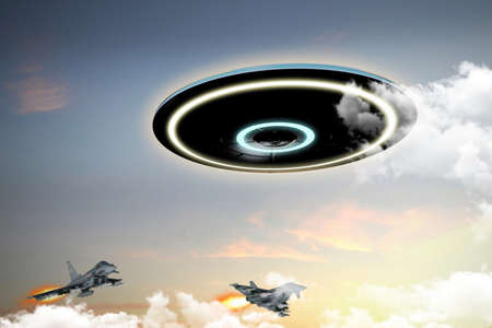 unidentified: 3d illustration of unidentified flying object engaged by military forces