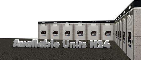 units: 3d illustration of self storage units Stock Photo