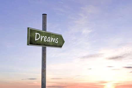 realize: 3d illustration of dreams sign