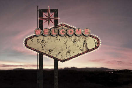 las vegas strip: 3d illustration of an old and rusty welcome sign isolated on white background