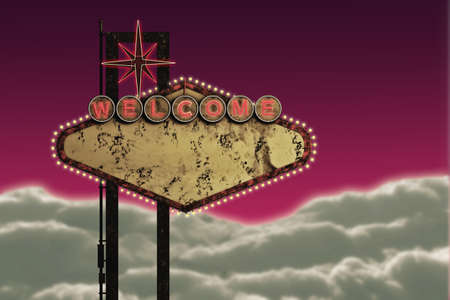 vegas strip: 3d illustration of an old and rusty welcome sign