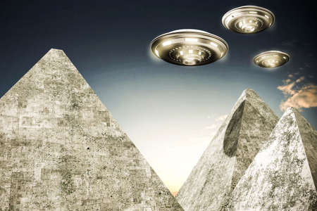 abduction: 3d illustration of ufo over pyramids