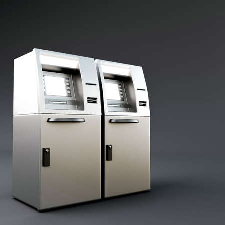 automatic transaction machine: 3d illustration of an atm isolated on dark gray background Foto de archivo