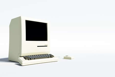 crt: 3d illustration of an old computer desktop isolated on white background