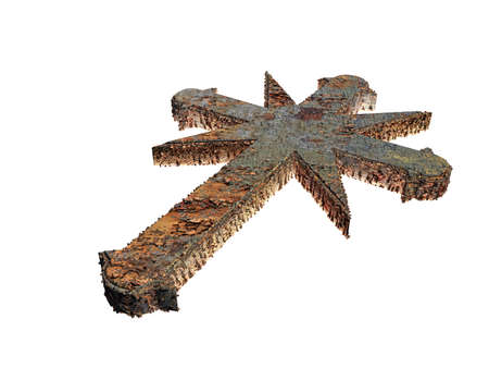 dogma: 3d illustration of a rusty cross isolated on white background