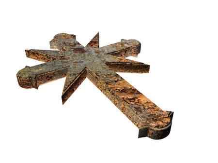 doctrine: 3d illustration of a rusty cross isolated on white background