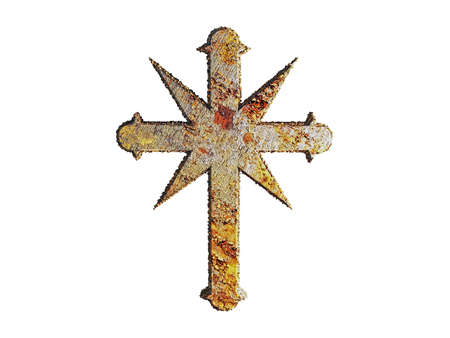 indoctrination: illustration of a rusty cross isolated on white background