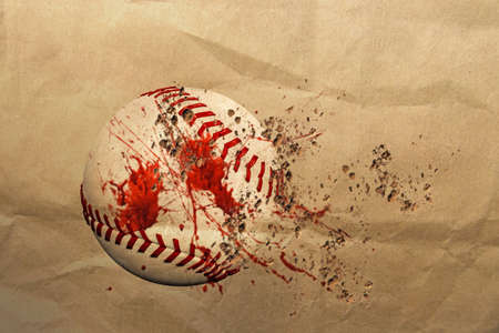 fastball: 3d illustration of a dirty baseball ball Stock Photo