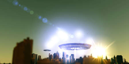 attacking: 3d illustration of unidentified objects attacking a city