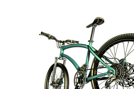 training wheels: 3d illustration of a green mountain bike isolated on white background