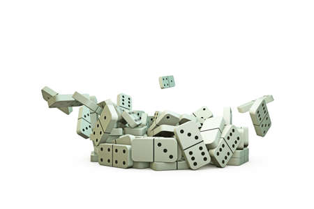 business continuity: 3d illustration of domino pieces that falling down on a white floor